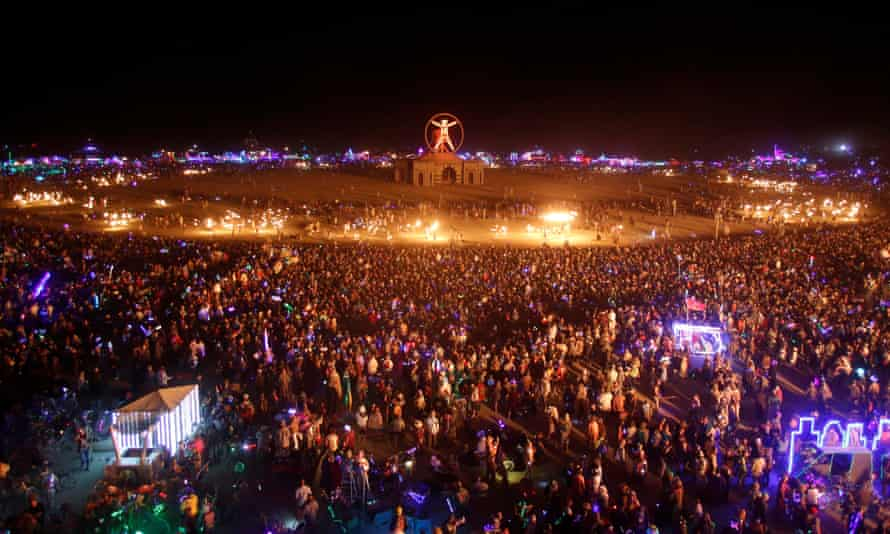Participants fill the Playa as approximately 70,000 people gather for the Burning Man arts and music festival in 2016.