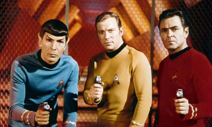 Leonard Nimoy, William Shatner and James Doohan in Star Trek, in 1966.