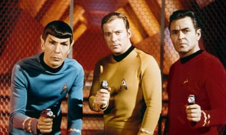 Leonard Nimoy, William Shatner and James Doohan in Star Trek, in 1966.