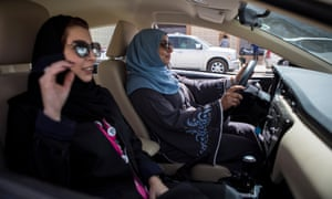 Saudi women driving after restrictions were lifted last year