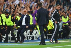 Zinedine Zidane celebrates after Ronaldo's second.