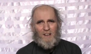Kevin King makes a statement in the video released by the Taliban.