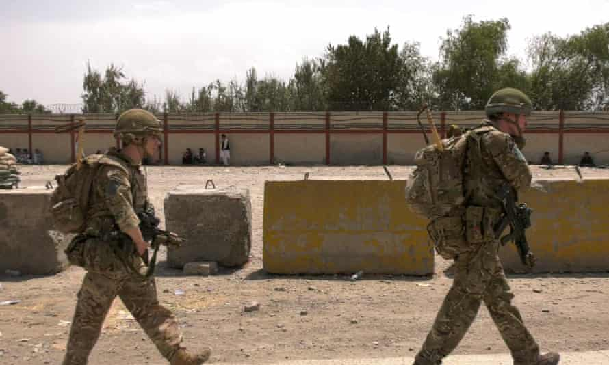 British soldiers on duty during the evacuation at Kabul airport