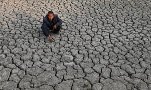 A dried pond in drought-stricken Fuyang, Anhui province, eastern China in October 2019.