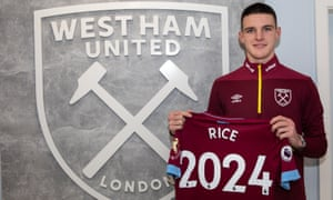 Declan Rice after West Ham confirmed the midfielder has signed a new long-term contract until 2024.