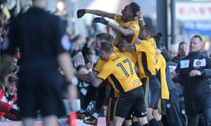 Shawn McCoulsky celebrates scoring his side's second goal as League Two Newport County stunned Leeds in their 2018 FA Cup third round tie at Rodney Parade.