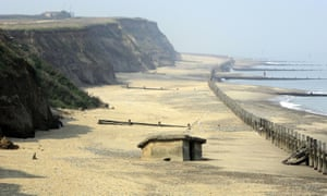 A second world war pillbox which used to be on top of the cliffs now sits on the beach at Happisburgh, North Norfolk.