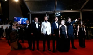 Shane Black (third from left) alongside Ryan Gosling, Matt Bomer, Angourie Rice and Russell Crowe at the Cannes screening of The Nice Guys