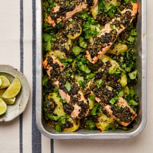 Yotam Ottolenghi's salmon and potato bake with wakame butter.