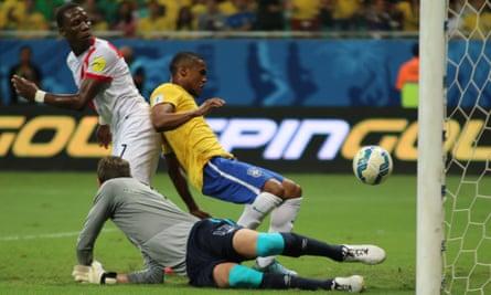 Douglas Costa opens the scoring for Brazil against Peru.