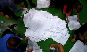 Counting votes in Przemyśl, Poland