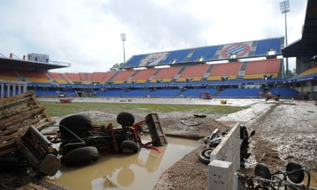 The flooded Mosson stadium in Montpellier,  southern France, in October 2014 after heavy showers led to flash floods