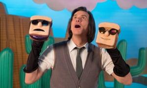 Suffocating … Jim Carrey as Mr Pickles in Kidding.