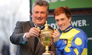Paul Nicholls and Sam Twiston-Davies with the Paddy Power Gold Cup of 2014, an early success for their partnership.