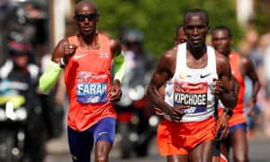 Mo Farah and Kenya's Eliud Kipchoge running in the 2018 London Marathon