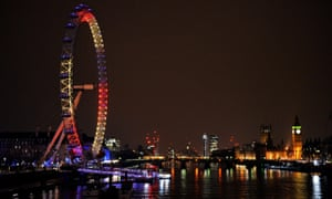 The London Eye has been lit up in support of Belgium following the terrorist attacks in Brussels yesterday