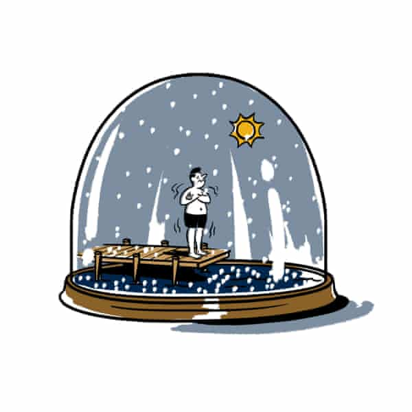 Illustration of a Canadian in a snow globe