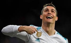 Ronaldo celebrates after scoring his second goal.
