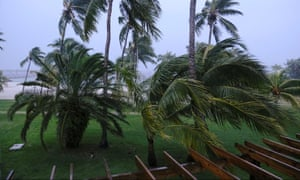 Palm trees blow in the wind during the arrival of Hurricane Dorian in Marsh Harbour, Great Abaco Island, Bahamas.