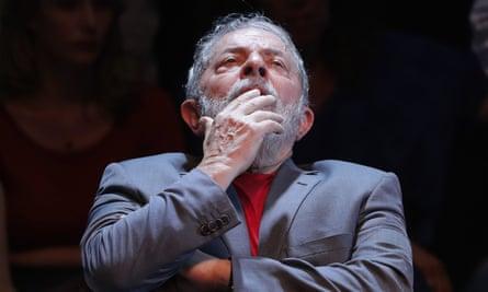 Luiz Inacio Lula da Silva appearing before Brazil's supreme court on 4 April 2018