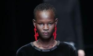 Colourful earrings at Emporio Armani, Milan fashion week 2017.