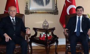 Devlet Bahçeli and Ahmet Davutoğlu