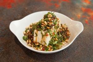 Marinated silken tofu, preserved veg, coriander, pine nuts at My Neighbours the Dumplings, Victoria Park, London.