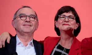 The newly elected co-leaders of Germany's Social Democrats, Norbert Walter-Borjans and Saskia Esken