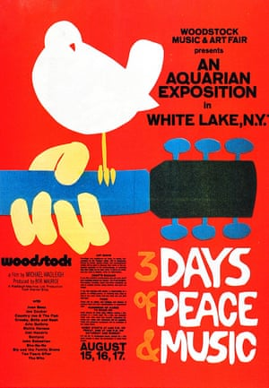 """Aquarius risingStan Goldstein: 'The slogan """"Three days of peace and music"""" was determined, and Michael came up with the idea of having a guitar and a dove as the logo – which was later developed into a brilliant poster by Arnold Skolnick'"""