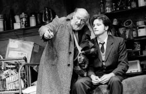 The Caretaker Donald Pleasence (Davies) and Colin Firth (Aston) directed by Harold Pinter. The Comedy theatre, London, 1991.