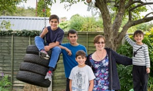 Alice Khimasia with sons (from left) Josiah, 13, Elias, 14, Noah, 10 and Zephan, four. She is 'unschooling' her children at home in Coventry.