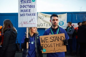 Hospital junior doctors and supporters on the picket line at Manchester Royal Infirmary