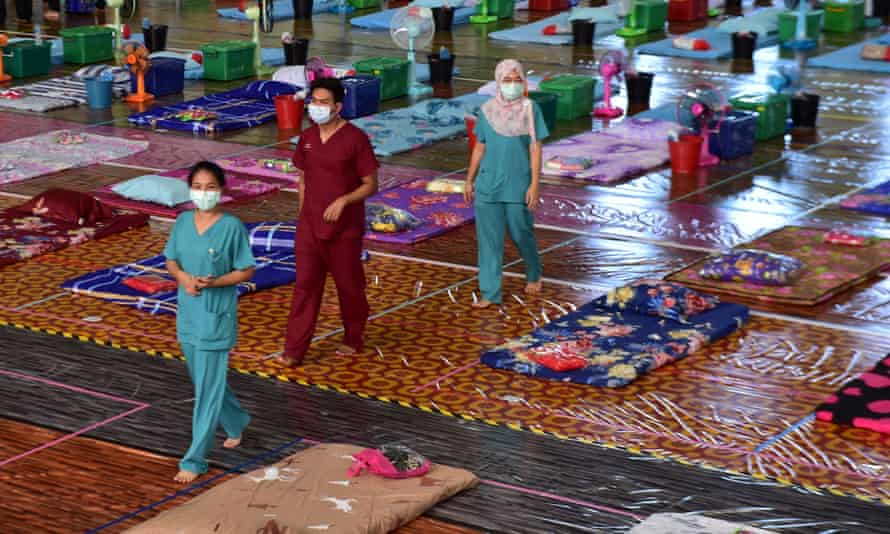 The gymnasium of Narathiwat Rajanagarindra University is converted into a field hospital facility for Covid-19 patients in Thailand's southern province of Narathiwat amid an increase in cases.