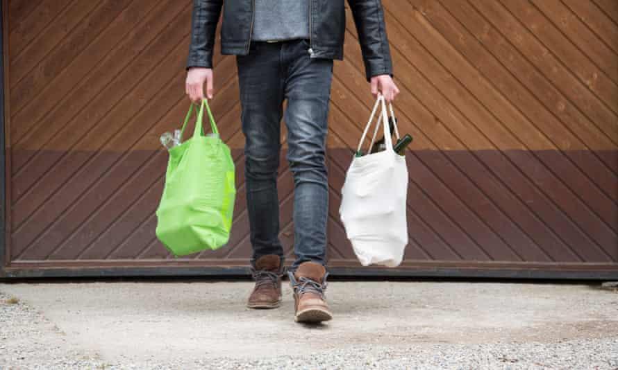 Boy carrying shopping bags