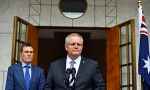 Attorney general Christian Porter and prime minister Scott Morrison speak on religious freedom and gay students at a press conference on Wednesday.