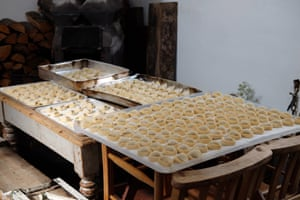 Tortelli alla norma (filled with ricotta, aubergine and speck).