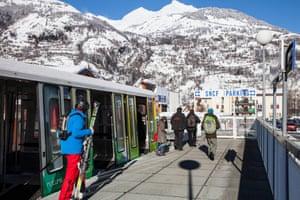 Les Arcs express mountain railway.