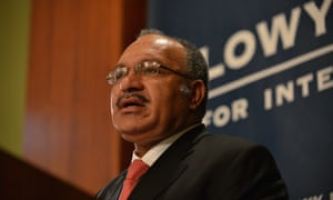 "PNG prime minister, Peter O'Neill, at the Lowy Institute in Sydney on 14 May. O'Neill said he was ""shocked"" at an Australian plan to set up a diplomatic post in Bougainville."