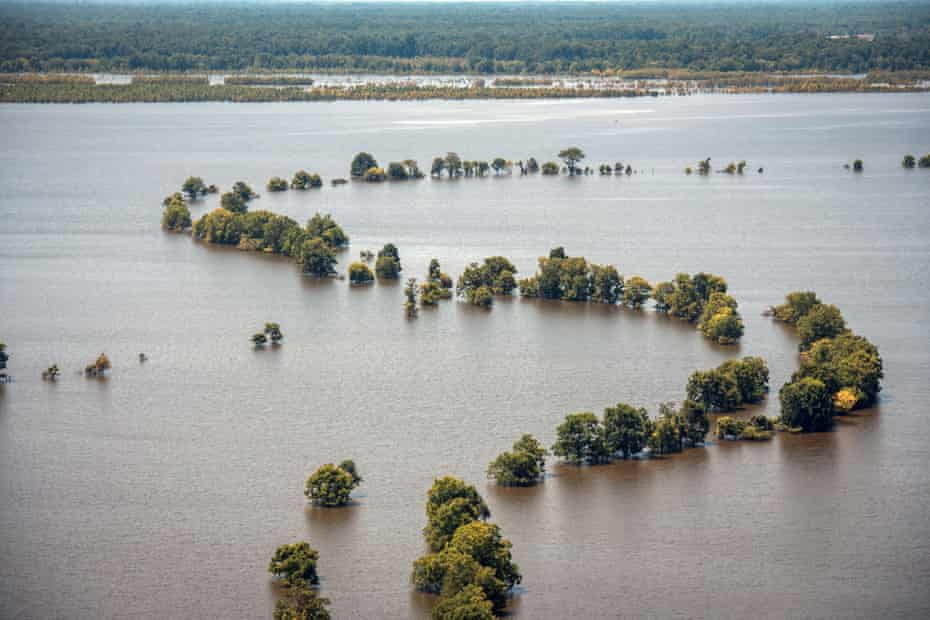 Farmland in the lower Mississippi Delta remains submerged in floodwater.