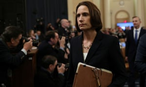 Fiona Hill departs after testifying to the impeachment hearing on Thursday.