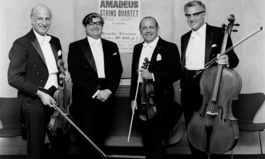The Amadeus String Quartet celebrating 25 years of playing at the Wigmore Hall, London, in 1973.