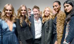 Christopher Bailey with Burberry models at London Fashion Week.