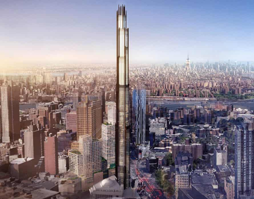 An artist's impression of a new skyscraper planned for downtown Brooklyn New York.