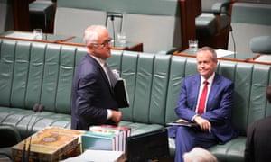 Opposition leader Bill Shorten, right, and PM Malcolm Turnbull, Monday 11 September 2017.