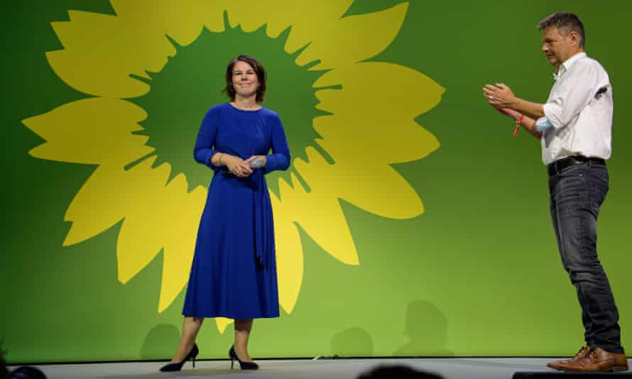 The Green party's candidate Annalena Baerbock party co-leader Robert Habeck at an election event in Berlin on Sunday night.