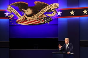 Joe Biden at the first presidential debate in Cleveland, Ohio, on 29 September.