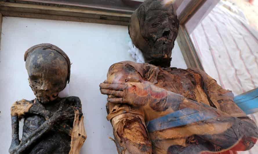 Two mummies, of a woman and a child, were also displayed.