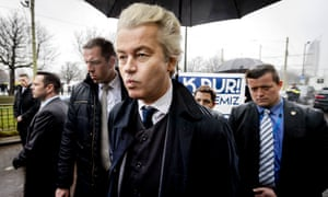 Wilders arrives for a demonstration in front of the Turkish embassy at The Hague on 8 March.