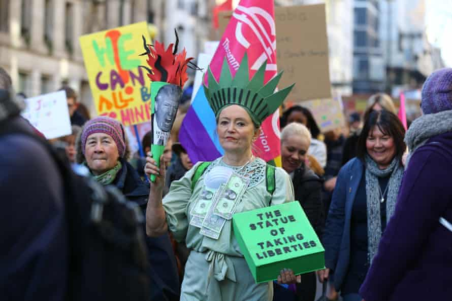 Women in London march to protest against Trump's misogyny