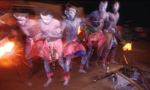 Rite of passage: young men in Gabon perform a bwiti initiation dance, during which ibogaine is taken.